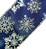 2 Yds2.5quot; Silver Glitter SnowflakesPretty NAVY Blue SatinWired Ribbon FAST