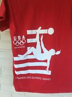 Coca Cola London 2012 Olympics Gold USA Women#x27;s Soccer Tee Shirt Men#x27;s Small Red