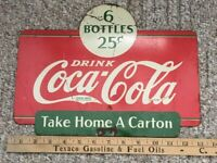 1937 Original Coca-Cola Rack Topper Double Sided Sign 6 Bottles For 25 Cents