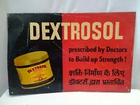 Vintage Advertising Tin Chemist Sign Dextrosol To Build Up Strength Collectible