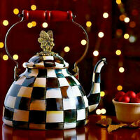 NEW Authentic MacKenzie-Childs Courtly Check 3-Quart Tea Kettle with Butterfly