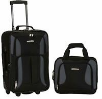 Carry On Luggage Set 2 Piece Rolling Suitcase Tote Bag Black Gray Medium 19 Inch