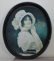 Coke Coca Cola Vintage Tray Betty Woman Lady in Bonnet Victorian Oval Metal
