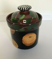 Droll Designs Hand Painted Black Orange Canister With Lid 5 Inches Tall
