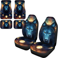 Aztec Native Wolf Animal Car Seat Covers+Floor Mat Front Rear Universal 6PC Set