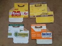 Vintage Beverages Cardboard Carriers Carton Pop Soda Water  Lot of 4