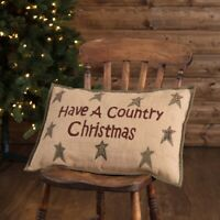 Have A Country Christmas Throw Decorative Pillow VHC Holiday Decor Tan 14x22