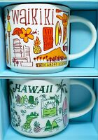 14oz Starbucks Mug Set HAWAII + WAIKIKI Been There Series 2018/2019 HERS