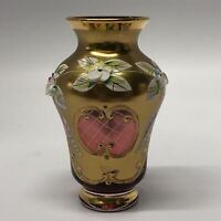 Bohemian / Czech Red Ruby Or Cranberry Glass Vase Hand Painted Gold