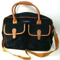 Vtg Nautica Navy Blue Leather Overnight Travel Carry On Bag w Strap Clean!