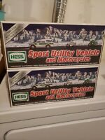 TWO (2) 2004 HESS Toy Truck Sport Utility Vehicle and Motorcycles PLUS BONUS