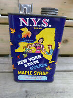 1950's New York Maple Syrup Can 1/2 Gallon Vintage Advertising Product Packaging