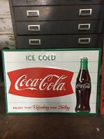 Coca-Cola Steel Sign Fishtail Ice Cold Coca-Cola Logo Man Cave Vintage Metal