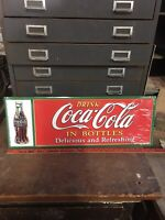 """Drink COCA-COLA In Bottles """"Delicious & Refreshing"""" Tin Metal Sign, 10""""x28"""""""