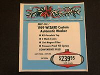 Vintage STORE SIGN Christmas Ornament Holly WIZARD 1959 Gas Clothes Dryer #1