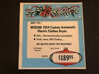Vintage STORE SIGN Christmas Ornament Holly 1959 WIZARD Electric Clothes Dryer 4