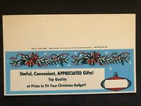 Vintage STORE SIGN Shelf Talker Christmas Ornament Holly Wreath GIFTS nos #9