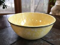 Stangl Town And Country Serving Bowl Yellow Sponge Glaze Black Rim 8