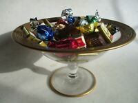 antique pairpoint glass compote gold rim vintage elegant footed bowl signed
