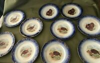 Antique LA BELLE CHINA WHEELING POTTERY TURKEY 10 Plates AVAILABLE