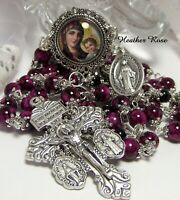 HANDCRAFTED ROSARY-BRIGHT PURPLE MOTTLED-3 WAY PARDON CRUCIFIX-BLESSED MOTHER