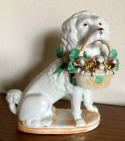 Antique Porcelain Poodle Dog With Basket Puppies LARGE Piece Marked Germany