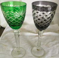 "Two 8 1/2"" Wine Glasses Green & Black CUT TO CLEAR CRYSTAL BOHEMIAN 3"" Wide"
