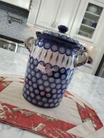 BOLESLAWIEC Polish Pottery Tall Handled Container w/Lid - Blue/Green/Red