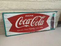 Vintage Original 1950s Coca Cola Fishtail Sign Diner Advertising Metal Soda Sign