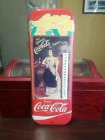 VINTAGE DRINK CARBONATED  COCA-COLA IN BOTTLES 5c THERMOMETER W/ WOMAN 16 x 6