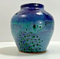 Beautiful Cobalt Blue and Green Peacock Pottery Vase Signed Lasee? 6 Inches Tall