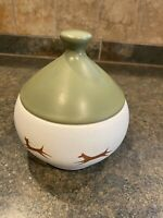 Vin Dog / Cat Treat Jar 60's Pottery by McCoy Upjohn Unipet HUNTER GREEN NICE !!