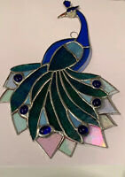 """Peacock-  Stained Glass, Sun-catcher, handmade 10""""X 6.5"""" inches 100%glass"""