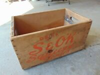 Rare Vintage Drink S & OK Squeeze Tonic Soda Crate Box wooden pop case w red fox