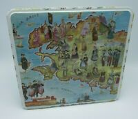 Vintage Massilly Tin Cookie Box! Made in France Folklore Bretagne Costumes / Map