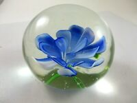 VINTAGE GLASS PAPER WEIGHT WITH BEAUTIFUL BLUE FLOWER*