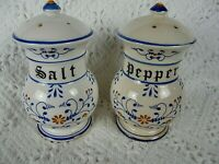 Vintage FRENCH FAIENCE Pottery  Hand Painted Salt Pepper set #1