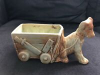 Vintage McCOY ART POTTERY Planter Dog w/ Wagon Cart