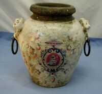 VINTAGE BEAUTIFUL POTTERY VASE: LION HEAD w/ METALLIC RINGS