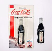 Vintage 1995 Coca Cola Bottle Thermometer Refrigerator Magnet No.10100 Lot of 2