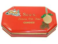 Vintage See's Candy Shops Famous Old Time Candies Advertising Tin Box