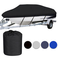 Waterproof Heavy Duty Trailerable Boat Cover Fishing V Hull Tri Hull Runabout
