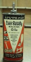 ANTIQUE EVER-READY MACHINE OIL TIN WITH LEAD TOP