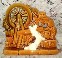 Vintage McCoy USA Planter Mid Century Pottery ~ Scottie Dog Cat Spinning Wheel