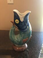 Majolica fish pitcher Portugal vintage