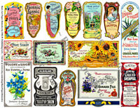 French Perfume Labels 2 Sticker Sheets Antique Apothecary amp; Druggist Bottles