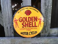 VINTAGE PORCELAIN SHELL OIL GAS AND OIL SIGN