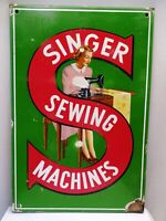 Singer Sewing Machine Enamel Convex Sign Porcelain Excellent Gorgeous Collectib