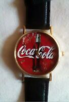 BRAND NEW...Coca Cola Watch black leather band gold tone housing