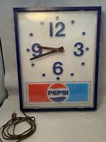 VINTAGE PEPSI WALL MOUNTED CLOCK LIGHTED SIGN ADVERTISING- FREE SHIPPING/WORKS!